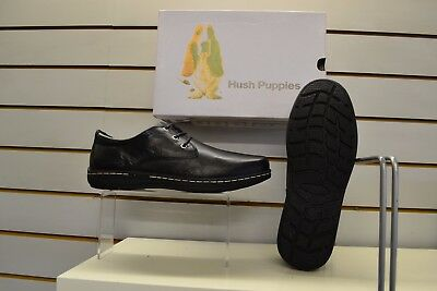 Hush Puppies Villy Victory Black Leather Laced Shoes UK Size 12 EU 47 Dual Fit