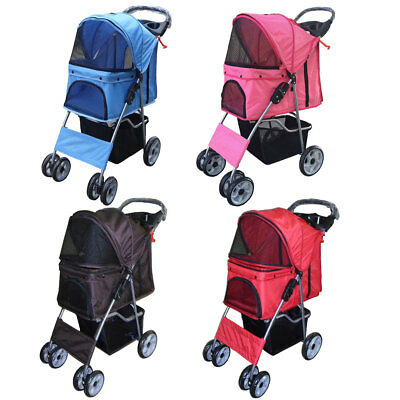 Dog Puppy Cat Pet Travel Stroller Pushchair Pram Jogger Buggy Swivel Wheels Vet