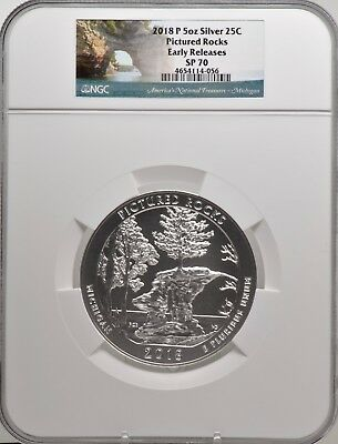 2018-P 5oz SILVER 25C Pictured Rocks NGC SP 70 Early Releases perfect must see!