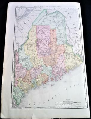 Rand Mcnally State Of Maine Business Atlas Map Page Plate 1893 Vintage