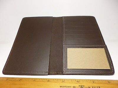 North Star Brown Top Stub 6+ Credit Card Leather Checkbook Cover-Made In USA#133