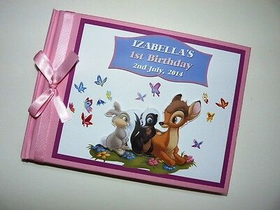 Personalised Bambi Boy/girl /first/1St Birthday Guest Book Any Design