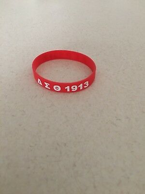 One New Delta Sigma Theta Sorority Silicone Rubber Bracelet Red and White.