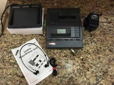 Lanier VW-210 Microcassette Transcriber Machine W/ Foot Pedal AC Adapter Headset
