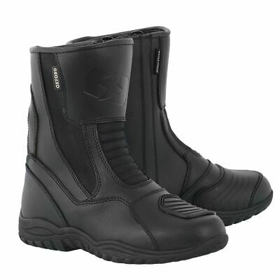 Oxford Hunter Boots Short Leather Waterproof Motorcycle Bike Boots Black