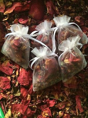 50 petal wedding confetti bags  Dried red rose organza lilac or white bags avail