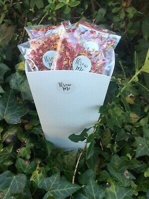 Wholesale 50pk confetti throws real red rose petals in cellophane cone envelopes