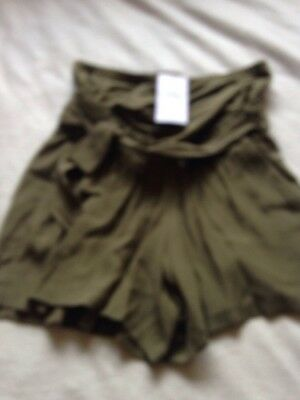 BNWT Ladies M&S Size 12 Green Over Bump Maternity Shorts