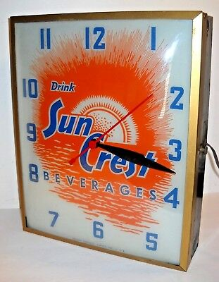Vintage Sun Crest Beverages Rectangular Metal  Light Up Wall Clock