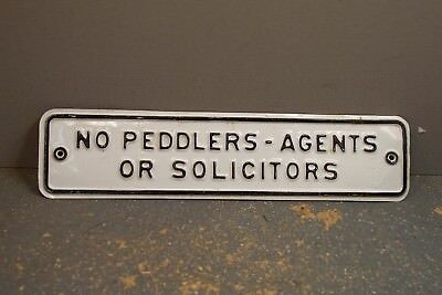 Vintage Sign No Peddlers Agents or Solicitors Store Business or Home Door Sign