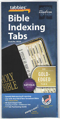 BIBLE INDEXING TABS Old & New Testament + Catholic Books GOLD EDGE Tabbies 58330