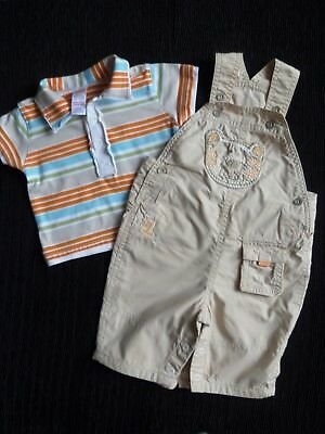 Baby clothes BOY 0-3m outfit NEXT cotton-lined dungarees coffee/polo-style shirt