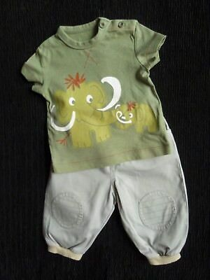 Baby clothes BOY 0-3m outfit Cherokee/H&M green elephants SS t-shirt/trousers