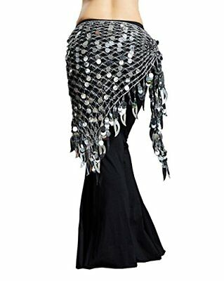 Dance Fairy Belly Dance Scarf Mermaid Sequins Mesh Triangle Hip Scarf Silver