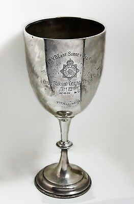 Military sterling silver boxing trophy Jimmy Butler 4th Surrey Regiment large.