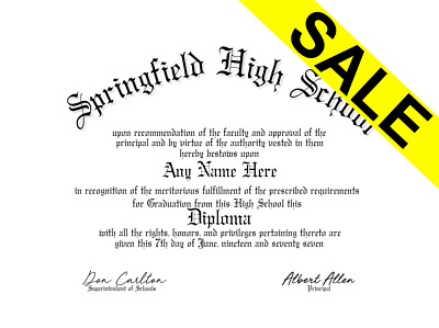 Fake UnBordered High School Home School Diploma Novelty Gag