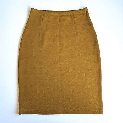 Vintage Stretch Mod Pencil Skirt Wool Chacok 0 Made In France Mustard Yellow
