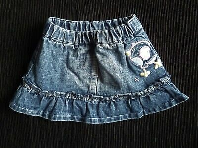 Baby clothes GIRL 0-3m NEW! frilled faded denim skirt cute bird motif SEE SHOP!