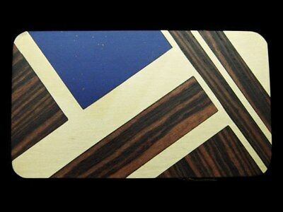 LB01123 *NOS* NICE VINTAGE 1970s **ABSTRACT ART** INLAID WOOD & STONE BUCKLE