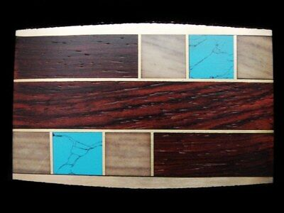 LB01145 *NOS* VERY STYLISH 1970s *ABSTRACT ARTWORK INLAID WOOD & STONE* BUCKLE
