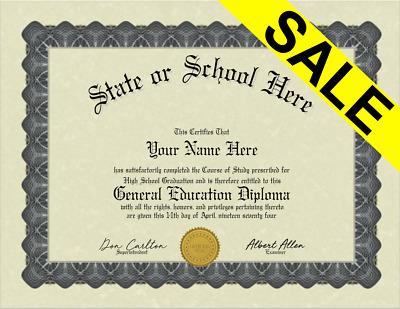 Fake Bordered GED General Education Diploma with Embossed Gold Seal Novelty Gag