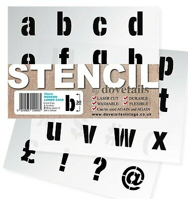"ALPHABET STENCIL LETTERS / SYMBOLS 30mm tall (1.18"") 3x Sheets Modern LOWER CASE"