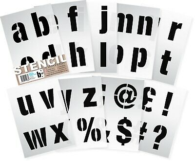 "ALPHABET STENCIL LETTERS / SYMBOLS 100mm tall (4"") 9 x Sheets Modern LOWER CASE"