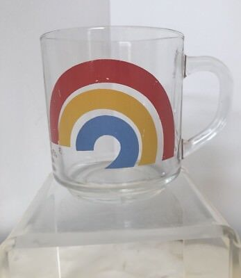 Arcoroc France With Rainbow Design Glass Mug Vintage Collectible
