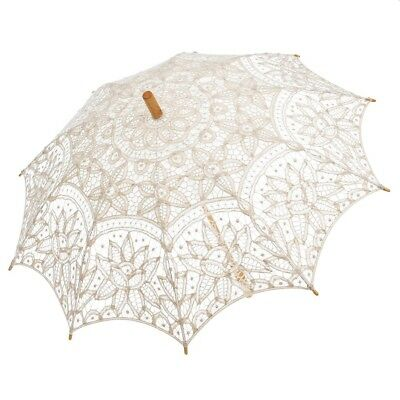 Bridal Umbrella Lace Pure Cotton Wedding Embroidery Sun Parasol Umbrellas Ivory