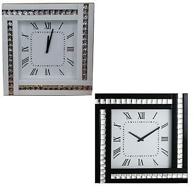Large 45 cm  Crystal  Bevelled Mirrored Glass Silver Square Wall Clock