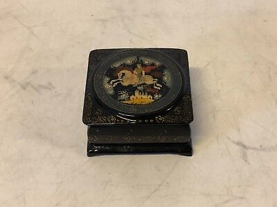 Russian Black Lacquer Box with Fairly Tale Decoration of Man & Woman on Horse
