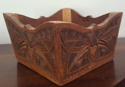 Chip Carved Wooden Box - Treen