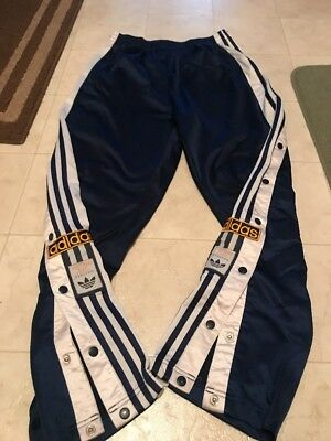 VINTAGE 90S ADIDAS Original Blue Hip Hop Tear Away Popper Track Pants Size M Men