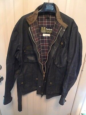 Barbour- A7 International Suit  Waxed Cotton Jacket-Vintage & Rare-Made @uk-44