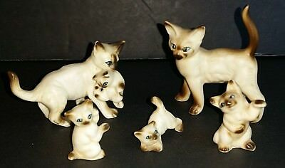 Vintage Miniature Siamese Cats Bone China Made in Japan Set of 5