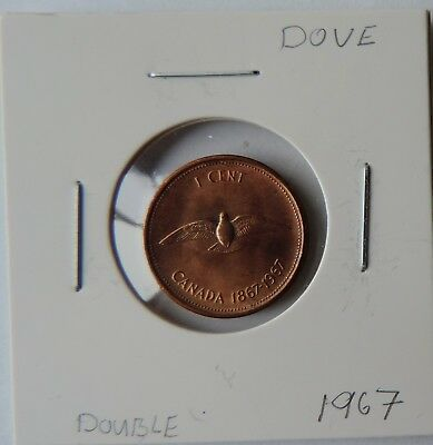 1 Cent Penny Copper Coin Dove Double Date CANADA 1867 - 1967  BU