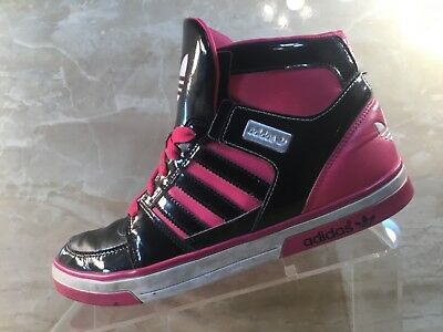 Adidas Pink/Black Patten Leather High Tops Girls Kids Basketball Shoes Size 6.5