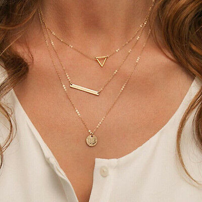 Fashion chic triangle circle round piece sequins stick Multilayer Necklace