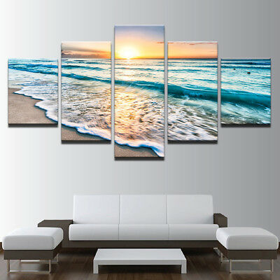 Framed Landscape Seascape Sunset Sea Beach Canvas Prints Painting Wall Art 5PCS