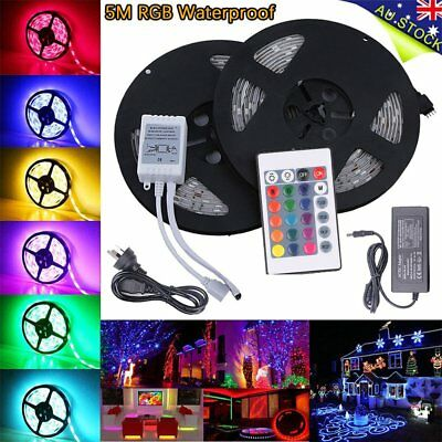 5050 SMD Waterproof 5M RGB LED Strip Light+ AC 240V to DC 12V Adapter AUPOST A