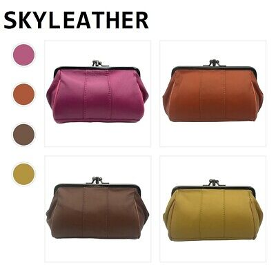 Genuine Sheepskin Leather Wallet Kiss Clutch Mini Coin Purse Women Change Bag
