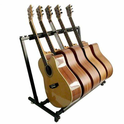5 GUITAR STAND - MULTIPLE Five INSTRUMENT Display Rack Folding Padded Organizer#