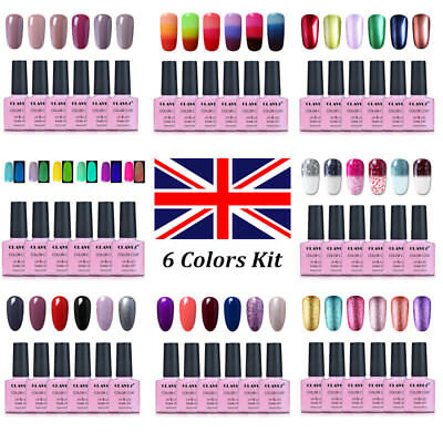 CLAVUZ Gel Nail Polish Varnish UV Soak Off Manicure Diamonds Shinny 6 Colors Set