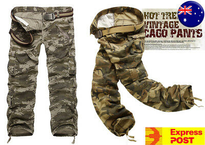 CLEARANCE Mens Cargo Casual Military Combat Camouflage Army Pants SIZE 32-40