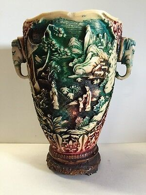 N2 Large And Antique Vase In The Decoration Chinese Resin H 29,5 D 20 Cm