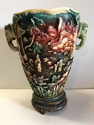 N1 Large And Antique Vase In The Decoration Chinese Resin H 29,5 D 20 Cm