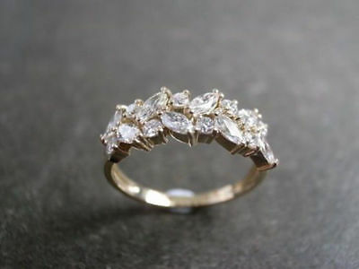 Vintage 3.00 Ct Marquise Diamond Cut 14k Yellow Gold 925 Wedding Engagement Ring