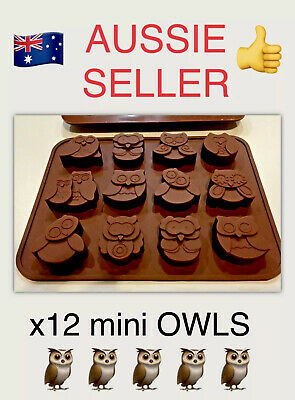 """x1 SILICONE """"OWL"""" 12 CAV TRAY MOULD (MINI SOY WAX TART/SOAPS/CHOCS/CANDY MAKING)"""