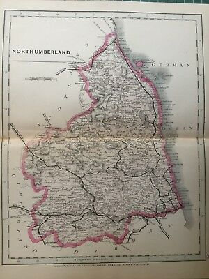 1875 Antique Map;  Cary / Cruchley map of Northumberland. Orig Outline Colour