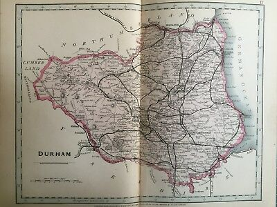 1875 Antique Map;  Cary / Cruchley map of Durham. Orig Outline Colour